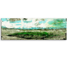 Leinwandbild Panorama grün türkis braun weiß Paul Sinus Abstrakt_772_150x50cm