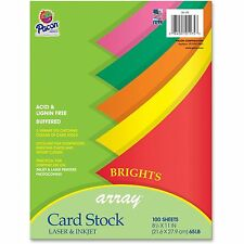 "Pacon Card Stock Paper 65 lb. 8-/2""x11"" 100/PK AST Brights 101175"