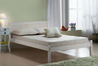 Rio Bed - Wooden with Headboard in Waxed Pine or White Wash Single Small Double