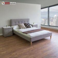 Polsterbett Doppelbett Stoffbett Bettgestell 160 x 200 + Lattenrost Bett grau