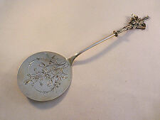 Coin Silver Krider & Biddle Fly?/Insect on Cattails Flat Server-Engraved-9 3/4""