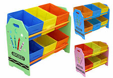 Kiddi Style Childrens Crayon Wooden Storage Unit6 Bins-Toy Organizer . Kids -  sc 1 st  eBay & Childrenu0027s Storage Units | eBay