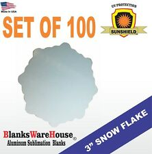 """3"""" SNOWFLAKE, SUBLIMATION BLANK, DOUBLE SIDED, MAGNET -   Lot of 100"""