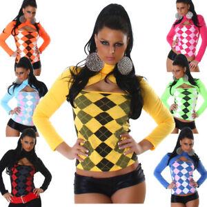 Damen Pullover Pulli Shirt Langarm-Shirt Rollkragen Karo 34 36 38