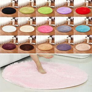 100cm Round Floor Mat Rug Anti-Skid Shaggy Area Rug Room Home Bedroom Carpet FS