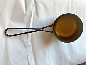 Antique BRASS INDIA 2638 Stove COOKING POT BOWL PAN LADLE BLACK HANDLE Vintage
