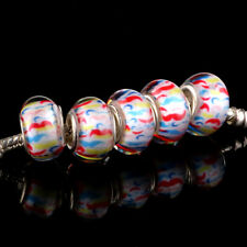 HOT 5pcs SILVER MURANO bead LAMPWORK fit European Charm Bracelet DIY D12