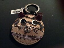 NWT Coach Furry Leather Cat Key Ring FOB #62982