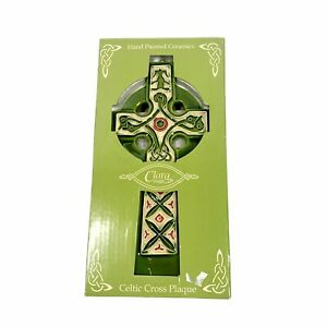 Clara Hand Painted Ceramic Green Celtic Cross Plaque Hook For Hanging NWT