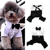 BG_ JT_ Dog Cat Pet Puppy Clothes Prince Tuxedo Necktie Suit Costume Jumpsuit Co