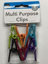 (6-PACK) Multi-Purpose Colored Kitchen Metal Food Bag Snack Chip Clips
