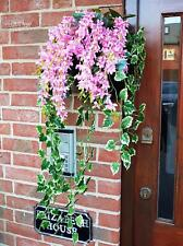 Artificial Hanging Wall Box Wisteria Pink Greenery Flowers Ivy Leaf Fern Plant