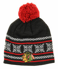 Reebok NHL Youth Chicago Blackhawks Team Knit Beanie With Pom, OSFM