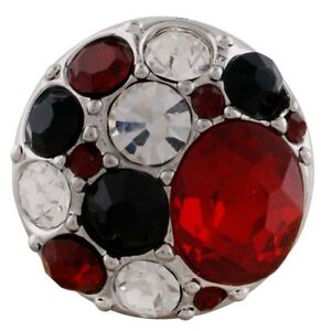 Red Clear Black Rhinestone Cluster 20mm Charm For Ginger Snaps Magnolia Vine