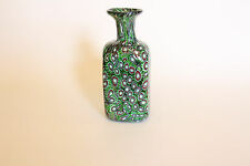 Beautiful Green Vintage Murano Millefiori Glass Bottle Hand Blown Original