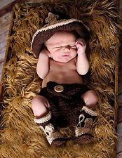 Newborn baby Crochet Photo Prop Cowboy Set Hat Boots Diaper Cover Costume Outfit
