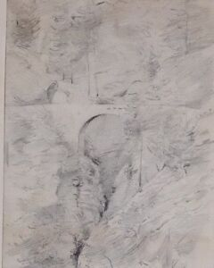c1860 ORIGINAL ARTWORK DRAWING SKETCH VIA MALA