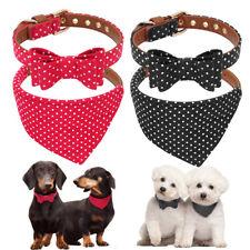 Small Dog Bow Tie Collar & Dog Bandana Collar Set Leather Dog Cat Necktie Scarf