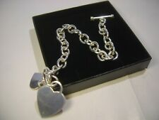 """INCREDIBLE QUALITY-SOLID SILVER OVAL LINK BRACELET-TBAR-2 HEARTS-SUPERB HEAVY 8"""""""
