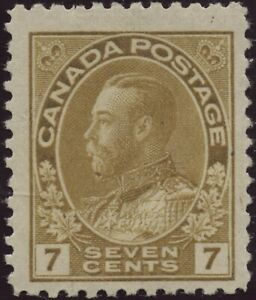 Canada 1911 #113a 7c olive bistre KGV Admiral issue (full gum w stains) MH