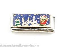 Santa Sleigh Reindeer Christmas Holiday Superlink 9mm Italian Charm Modular Link