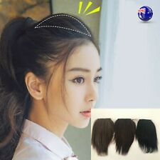 Women Fake Natural 100% Human Real Hair Volume Up Wig Piece Hairpiece Clip on