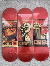Shepard Fairey SIGNED! Obey Giant Skate Deck Set Of 3 Print Fist Goggles Print