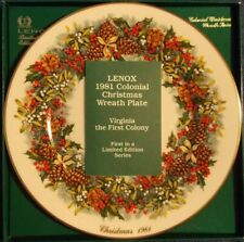 Lenox 1981 Colonial Christmas Wreath collector plate #1 Virginia w/box and Coa