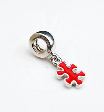 Genuine Pandora Dangle Charm Jigsaw Puzzle Piece Red - 790486EN09 - retired