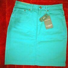 NEW $49.95 L.L.Bean 1912 Demin Malachite Green Skirt Sz.4 Petite