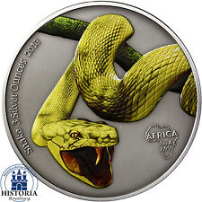 Africa Serie: Colored Yellow Snake 3 Silver Ounces Gabon 2000 Francs 2013