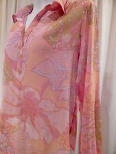 Gorgeous MOTH (M) Semi- Sheer Cotton L/S Blouse Shirt Top Orange/Pink EUC!