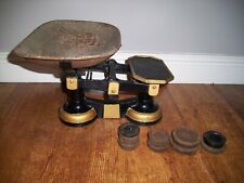 Vintage Cast Iron Weighing Scales with Pan and Weights Set (Kitchen Shop Black)