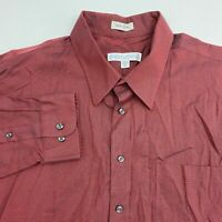Joseph & Feiss Button Up Dress Shirt Men's 18 Tall Long Sleeve Maroon Non Iron