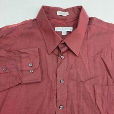 Joseph & Feiss Button Up Dress Shirt Men's 18 Tall Long Sleeve Maroon Non Iron