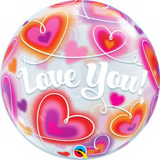"VALENTINE'S DAY PARTY SUPPLIES 22"" SEE THRU LOVE DOODLE HEARTS BUBBLE BALLOON"