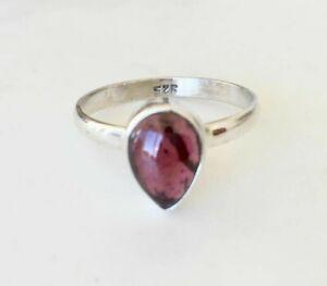 925 Sterling Silver Garnet Ring Teardrop Tear Gemstone Stacking Stack Size 6
