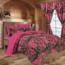 7 PC HI VIZ PINK  CAMO COMFORTER AND SHEET SET KING SET CAMOUFLAGE WOODS