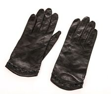 Vintage Gloves Size 6 Leather Black Driving Delicate Thin