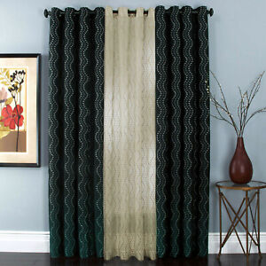 """Black Embroidered Stripes Faux Silk Lined Grommet 108"""" Window Curtain Panel Pair"""