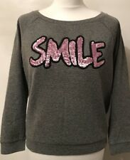 Women's Grey Loungewear Sweatshirt by PINKO with Pink Sequinned Word SMILE-Small
