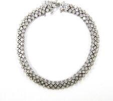 Fine Brilliant Princess Cut Diamond Tennis Bracelet 18K White Gold 4.74Ct