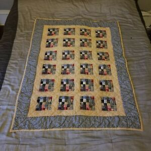 Primitive Wall Hanging Quilt Patchwork Plaid Throw Blanket Man Cave