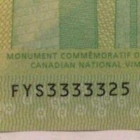 "Fancy Serial Number: Quintuple Solid - Canada Twenty $20 Bill : ""3333325"""