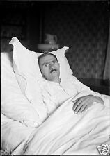 Portrait homme alité malade ? post mortem ?  - Ancien négatif 13x18 photo verre