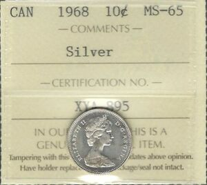 1968 SILVER Ten Cents ICCS Certified MS-65 ** STUNNING Elizabeth II GEM BU Dime