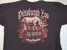 PITTSBURGH ZOO Rhinoceros T-SHIRT Mens XL 2-Sided Black PPG Aquarium Rhino EUC