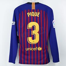 2018-19 Barcelona Player Issue Home L S Shirt Piqué  3 Iniesta Tribute 311dd03e90f