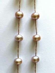 Lali Classics Cultured Freshwater Pink Pearl 14K Rose Gold Rope Chain Necklace