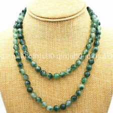 """36"""" Long Genuine Natural 8mm Vintage Emerald Graduated Beads Necklace JN688"""